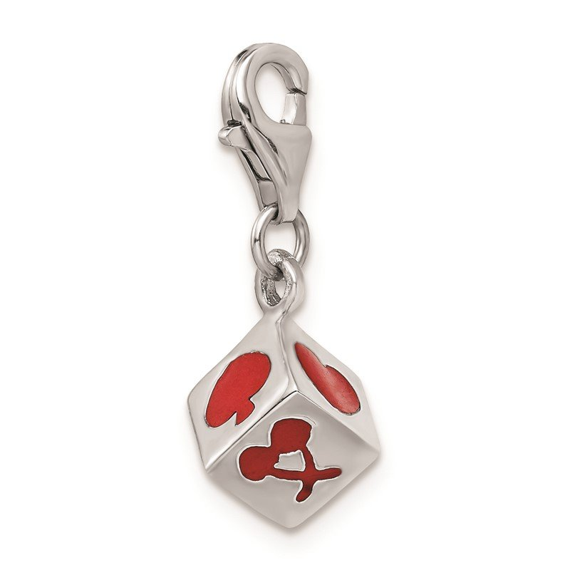 Quality Gold Sterling Silver Rhodium-plated 3-D Enameled Die w/Lobster Clasp Charm