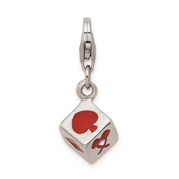 Sterling Silver Rhodium-plated 3-D Enameled Die w/Lobster Clasp Charm