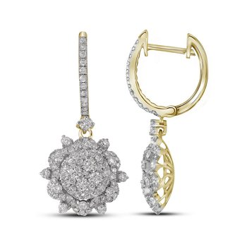 14kt Yellow Gold Womens Round Diamond Starburst Cluster Dangle Hoop Earrings 2-1/4 Cttw