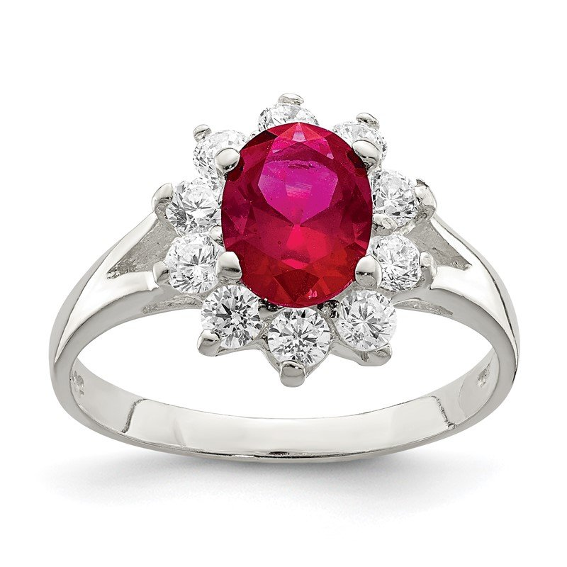Quality Gold Sterling Silver Red Oval CZ Cluster Ring