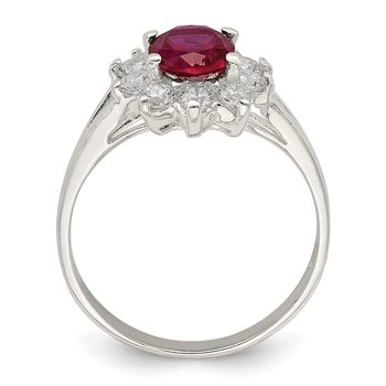 Sterling Silver Red Oval CZ Cluster Ring