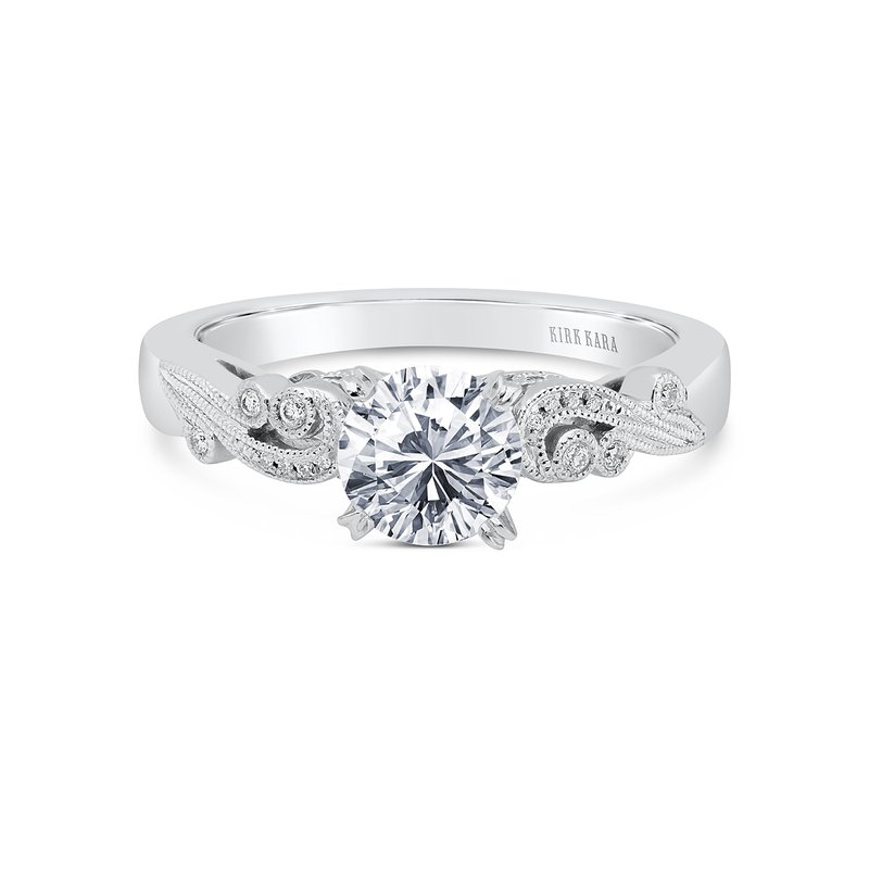 Romantic Swirl Diamond Solitaire Engagement Ring