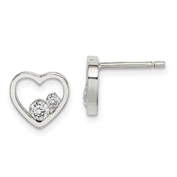 Sterling Silver Open Heart w/CZ Post Earrings