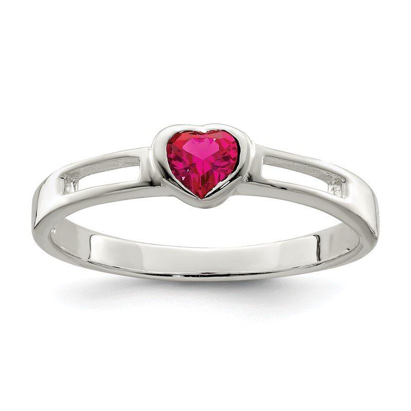 Arizona Diamond Center Collection Sterling Silver Red CZ Heart Ring