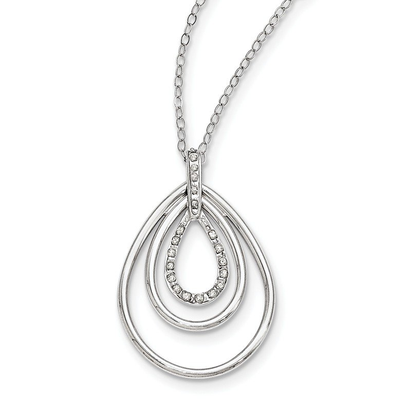 Sterling Silver Diamond Mystique 18in Triple Teardrop Necklace