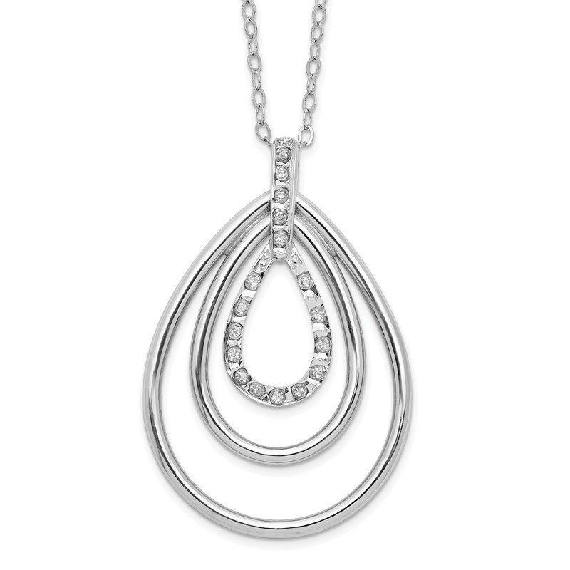 Quality Gold Sterling Silver Diamond Mystique 18in Triple Teardrop Necklace