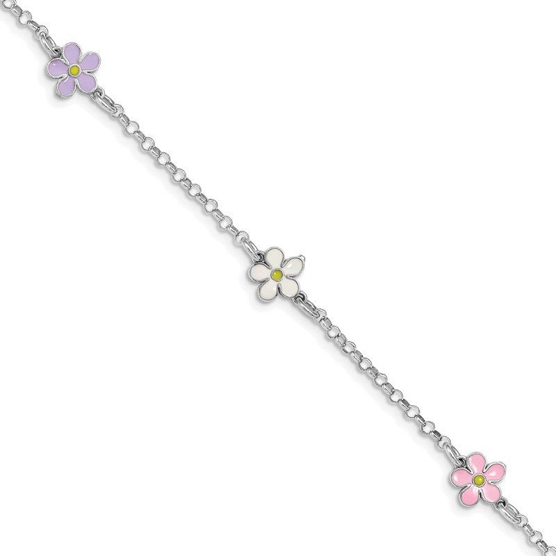 Quality Gold Sterling Silver Rhod-plated Enameled Flower 6.25in Plus .75in EXT Bracelet