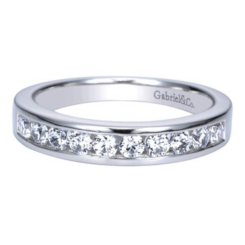 14K White Gold  Contemporary Channel Set Straight Diamond Band