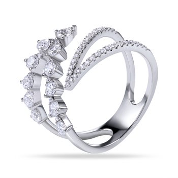 14K Intertwined Design Ring with 55 Diamonds 0.87C T.W.