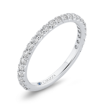 18K White Gold Round Cut Diamond Wedding Band