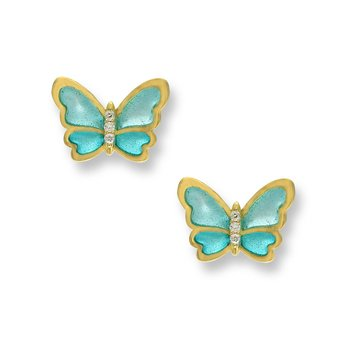Turquoise Butterfly Stud Earrings.18K -Diamonds - Plique-a-Jour
