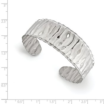 Leslie's SS Rhodium-plated Scrunch Cuff Bangle