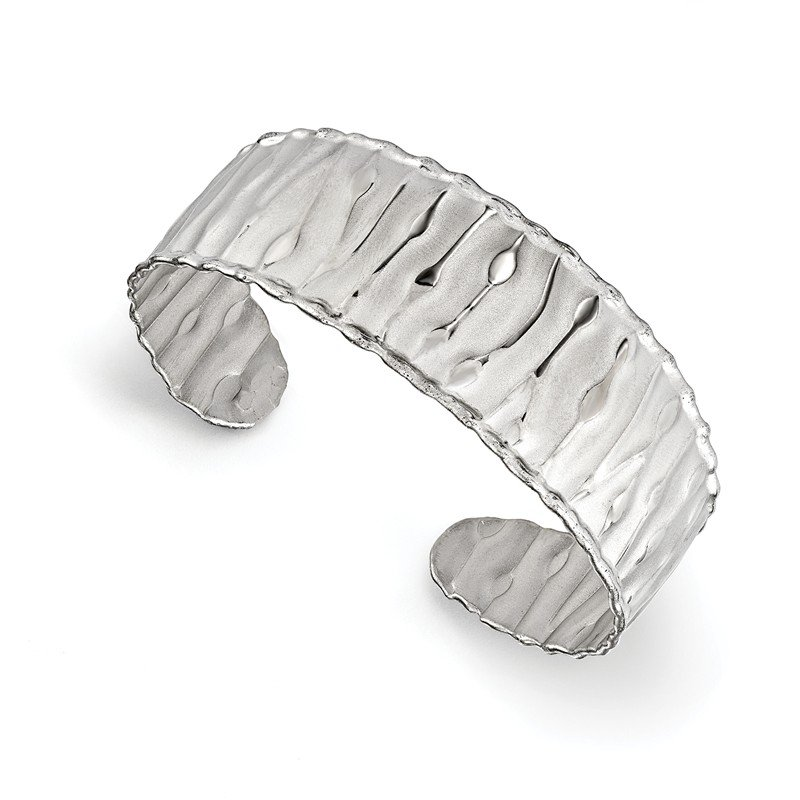Leslie's Leslie's SS Rhodium-plated Scrunch Cuff Bangle