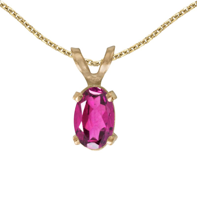 Color Merchants 14k Yellow Gold Oval Pink Topaz Pendant