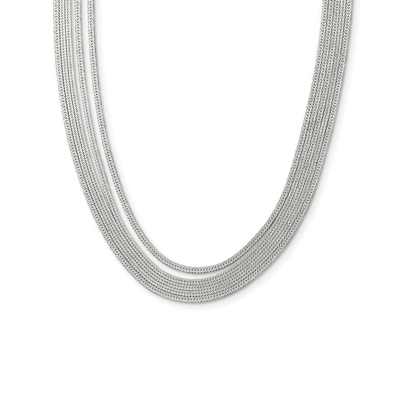 Quality Gold Sterling Silver 5-Strand Herringbone Chain w/2in ext Necklace