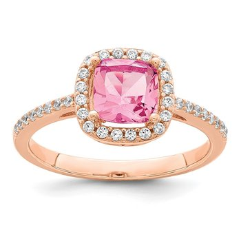Sterling Silver Rose-tone Square Peach CZ Halo Ring