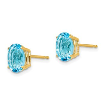 14k 8x6mm Oval Blue Topaz Earrings