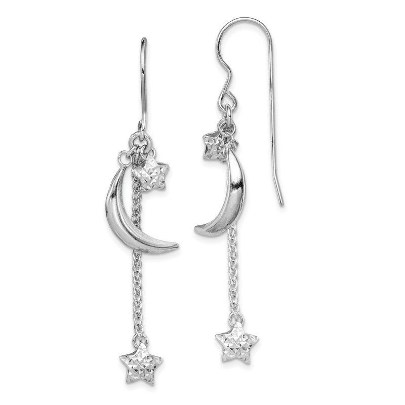 Quality Gold Sterling Silver Rhodium-plated D/C Puffed Star and Moon Earrings