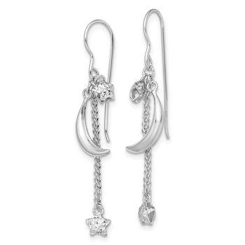 Sterling Silver Rhodium-plated D/C Puffed Star and Moon Earrings