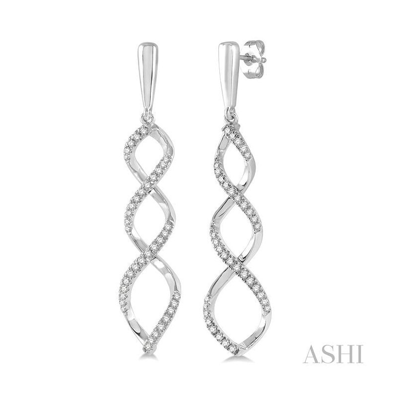 ASHI diamond ribbon swirl earrings