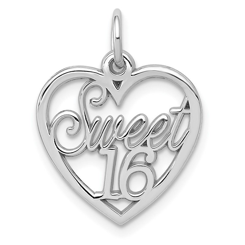 Quality Gold 14k White Gold SWEET 16 Heart Charm