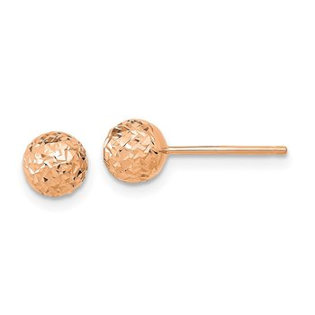 14k Rose Gold 6mm Diamond-Cut Ball Post Earrings