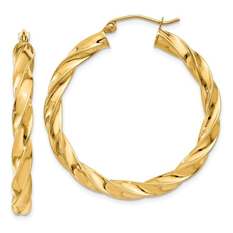 Quality Gold 14k Light Twisted Hoop Earrings