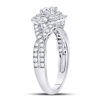 14kt White Gold Womens Round Diamond 3-stone Twist Bridal Wedding Engagement Ring 1.00 Cttw