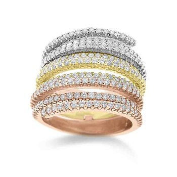 Diamond Fashion Ring in 14K White, Rose and Yellow Gold with 222 Diamonds Weighing  1.55ct tw