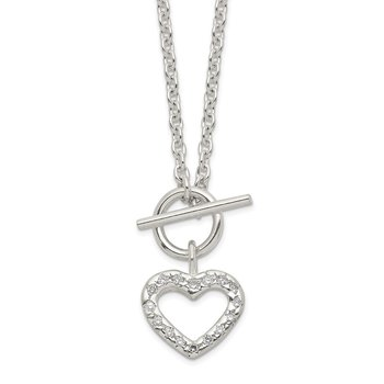 Sterling Silver CZ Heart Tag Necklace