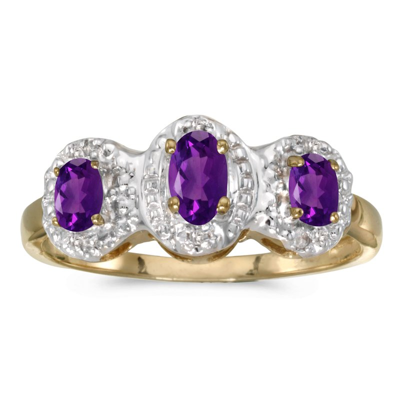 Color Merchants 14k Yellow Gold Oval Amethyst And Diamond Three Stone Ring