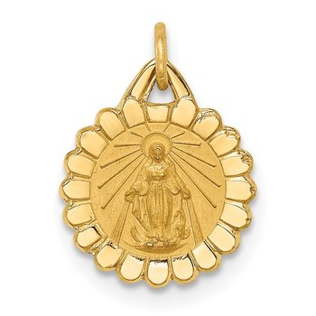 14k Solid Polished/Satin Tiny Round Scalloped Miraculous Medal
