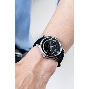 Tradition Men's Black Quartz Watch with Perpetual Calendar