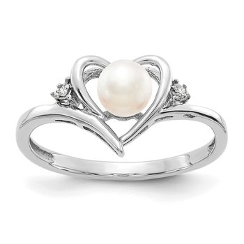14k White Gold FW Cultured Pearl and Diamond Heart Ring