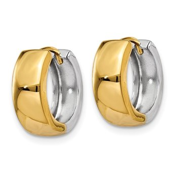 14k Two-tone Hinged Hoop Earrings