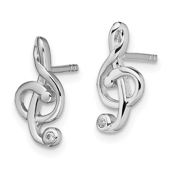 Sterling Silver Rhodium-plated CZ Treble Clef Post Earrings
