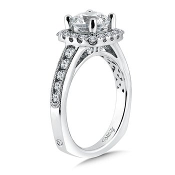 Inspired Vintage Collection Halo Engagement Ring in 14K White Gold with Platinum Head (1-1/2ct. tw.)