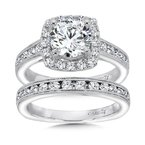 Caro74 Inspired Vintage Collection Halo Engagement Ring in 14K White Gold with Platinum Head (1-1/2ct. tw.)