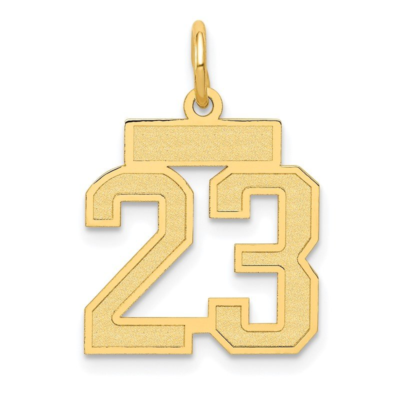 Quality Gold 14k Small Satin Number 23 Charm