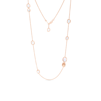 18KT GOLD STATION NECKLACE WITH MOTHER OF PEARL