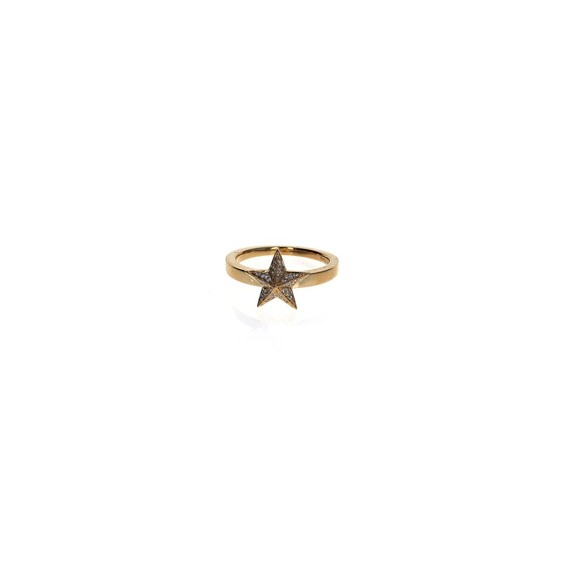 King Baby 18K Gold Pave Star Ring