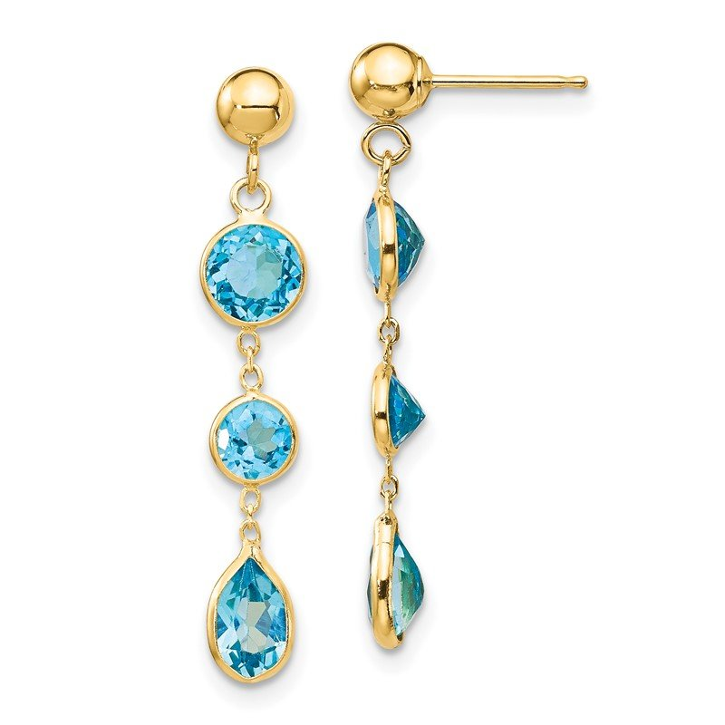 Quality Gold 14k Blue Topaz Gemstone Dangle Earrings