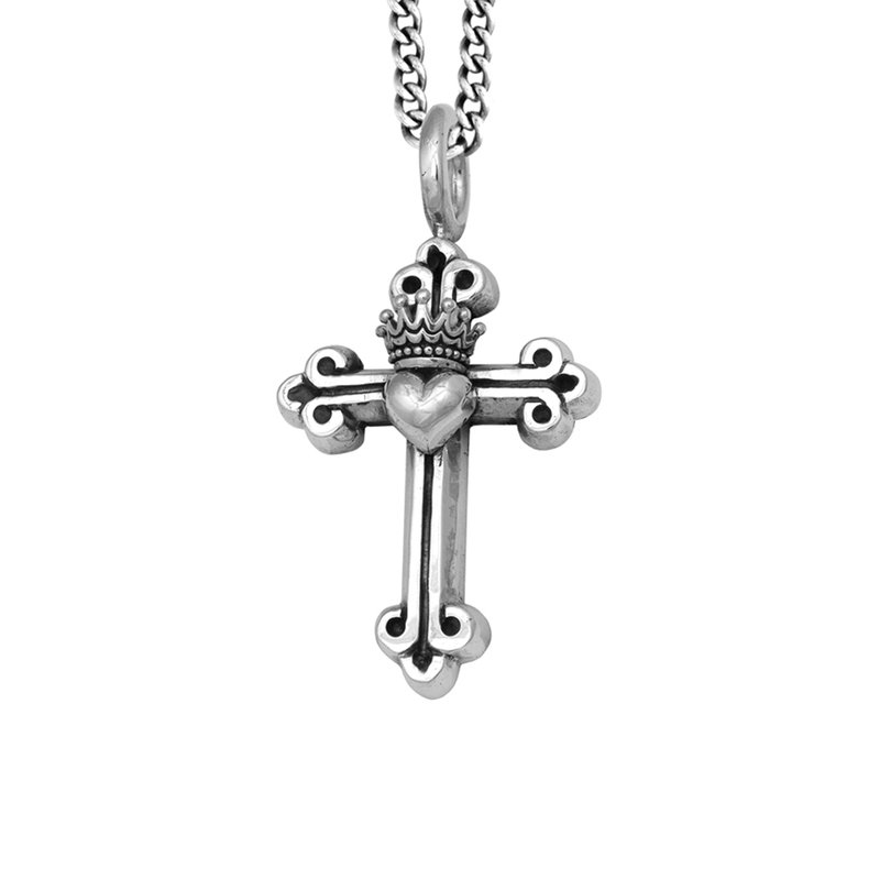 King Baby Traditional Cross With Heart Pendant On 24
