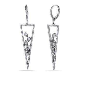 14K Geometrical shape drop Earrings 192 Diamonds 1.08C
