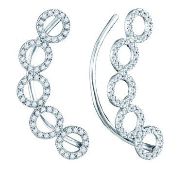 10kt White Gold Womens Round Diamond Circle Climber Curved Earrings 1/3 Cttw