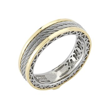 Men's Grey Cable Interior Yellow Gold Ring