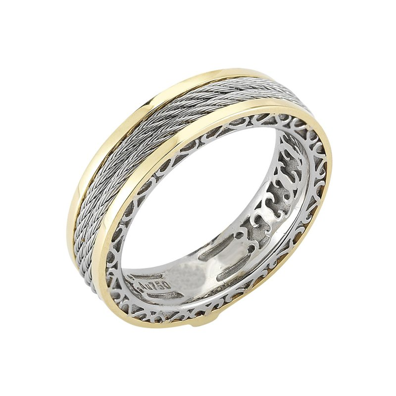 ALOR Men's Grey Cable Interior Yellow Gold Ring