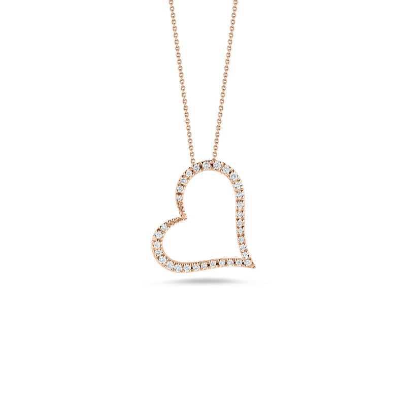 Roberto Coin Slanted Heart Pendant With Diamonds &Ndash; 18K Rose Gold