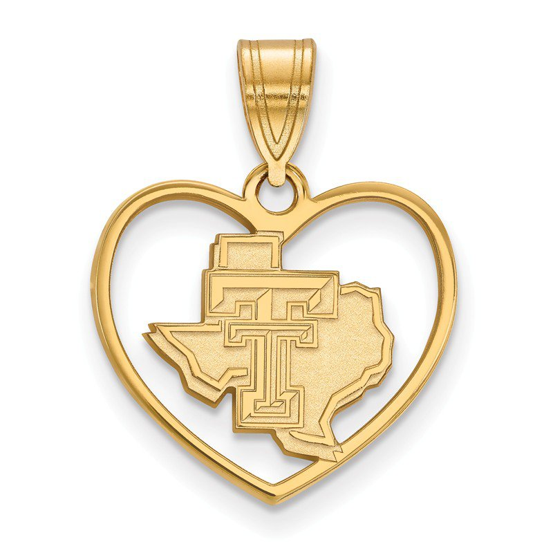 NCAA Gold-Plated Sterling Silver Texas Tech University NCAA Pendant