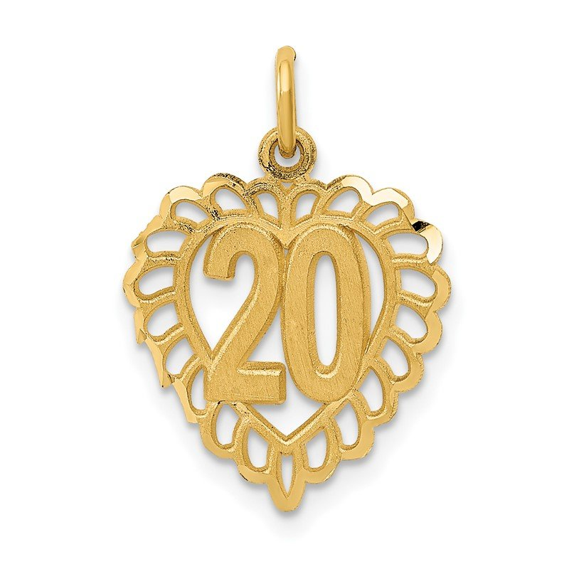 Quality Gold 14k 20 in Heart Charm